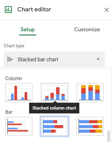 Chart editor, Setup tab, Chart type, Stacked column chart selected
