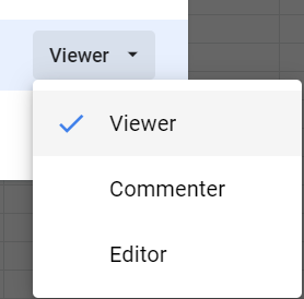 Access levels: viewer, commenter, editor.