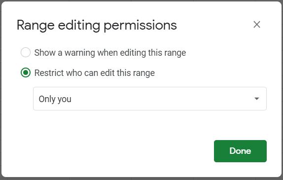 Range editing permissions.