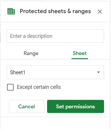 Protected sheets and ranges sidebar. Sheet tab selected.