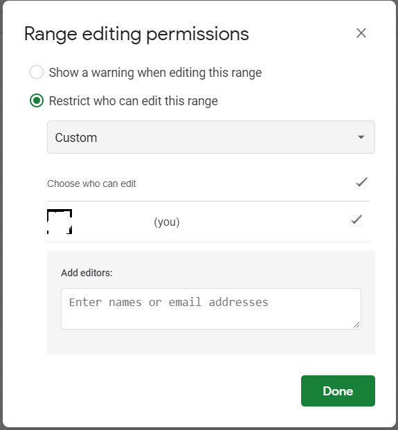 Custom list of users selected. Box for adding editors appear.