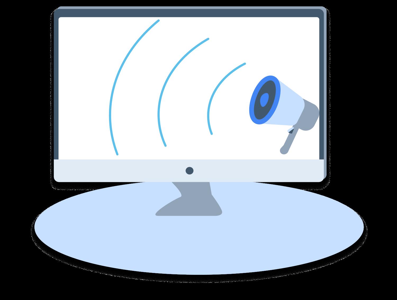 Megaphone on a desktop computer window.
