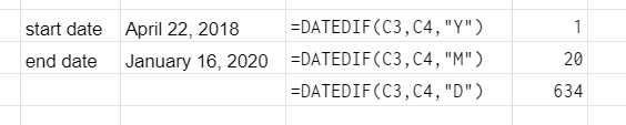 DATEDIF function examples. First row is for counting the number of whole years between two dates. Second row is for counting the number of whole months between two dates. Third row is for counting the number of whole days between two dates.