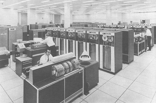 A mainframe containing a database stored in magnetic tapes.