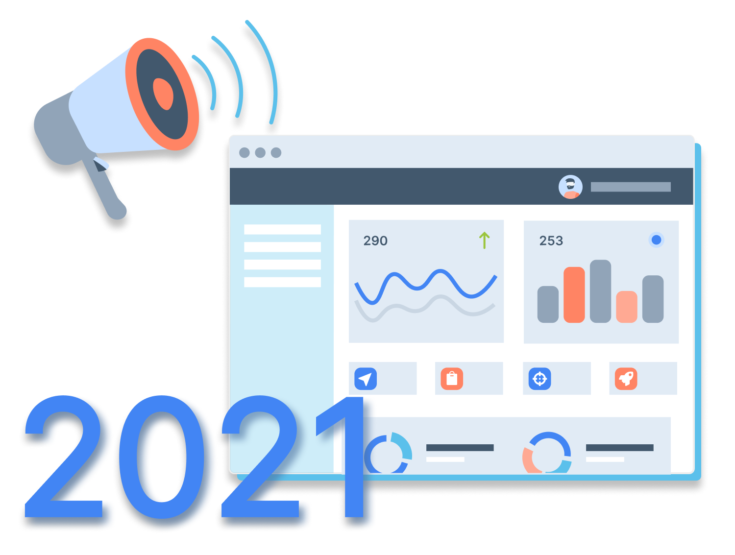 Charts and data, year 2021, and megaphone