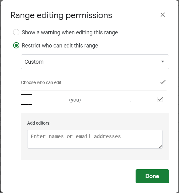 Range editing permissions. Restrict who can edit this range: custom option selected. A box appears where you can add the email addresses.