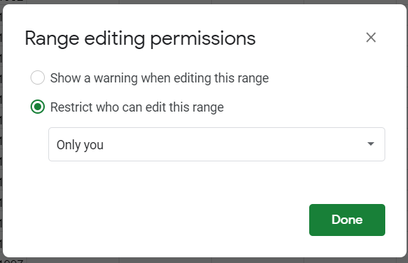 Range editing permissions. Restrict who can edit this range: Only you option selected.