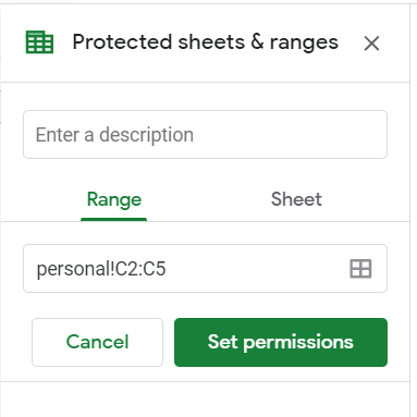 Protected Sheets & ranges sidebar. Range tab selected. The range of the selected cells already added.