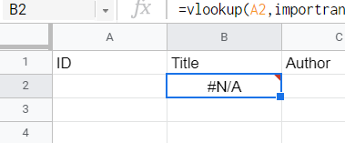 #N/A error indicates that the entry does not match any in the list. For this case, this is due to lack of content in the referenced input cell.