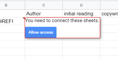 Allow access prompt on the first time to access the original spreadsheet