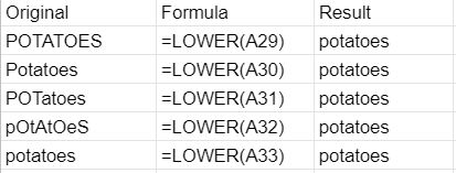 LOWER formula applied to different possible inputs