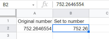 Original number with several decimal places rounded off to having only two decimal places.