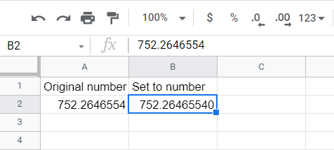 The number having more decimal places than the original number in the source cell has will have additional zeroes at the end of it.