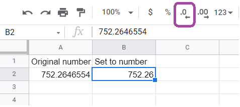 The button for decreasing the number of decimal places highlighted.