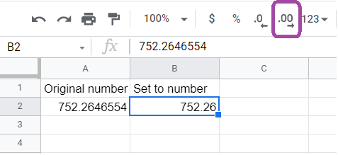 The button for increasing the decimal places highlighted