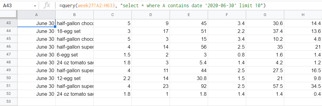 Output of limit plus contain and date query
