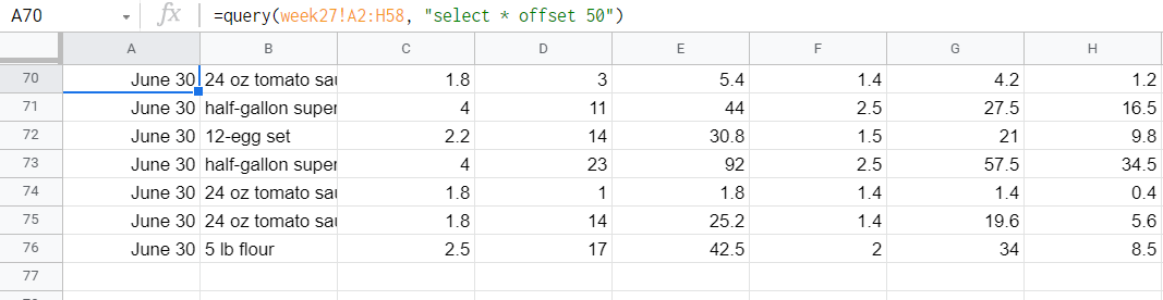 Output of offset.
