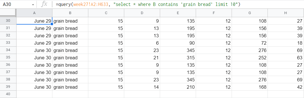 Output of limit plus contain query.
