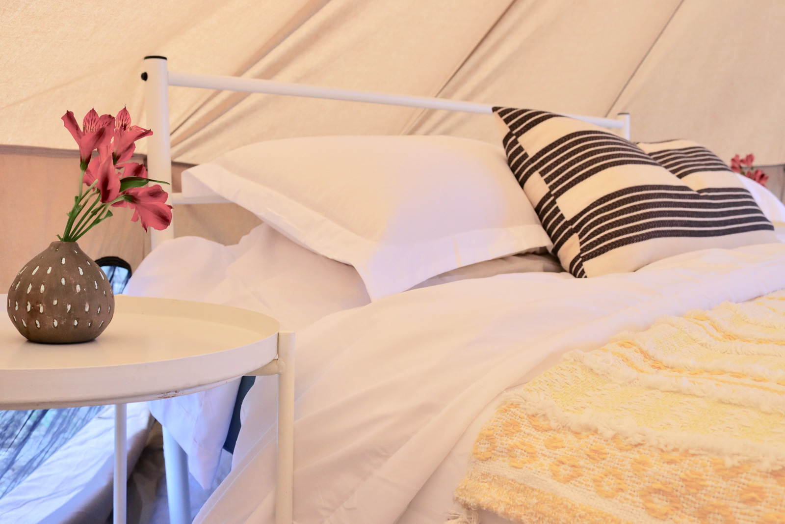 A look inside the bell tent.
