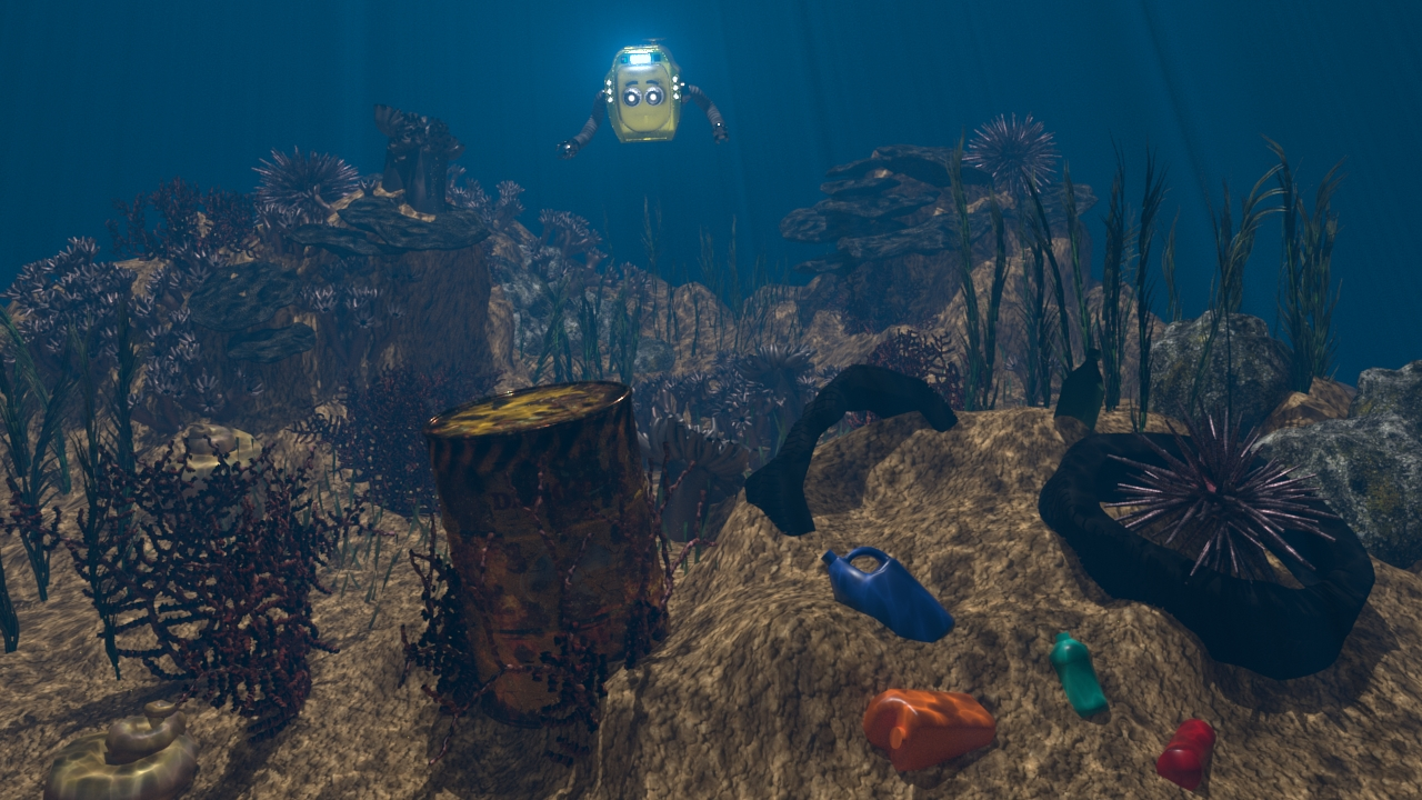 underwater scene with waste debris at the bottom and a submersible approaching