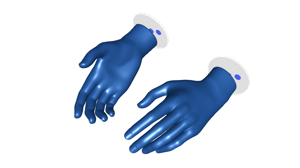 blue hands with icons on the wrist