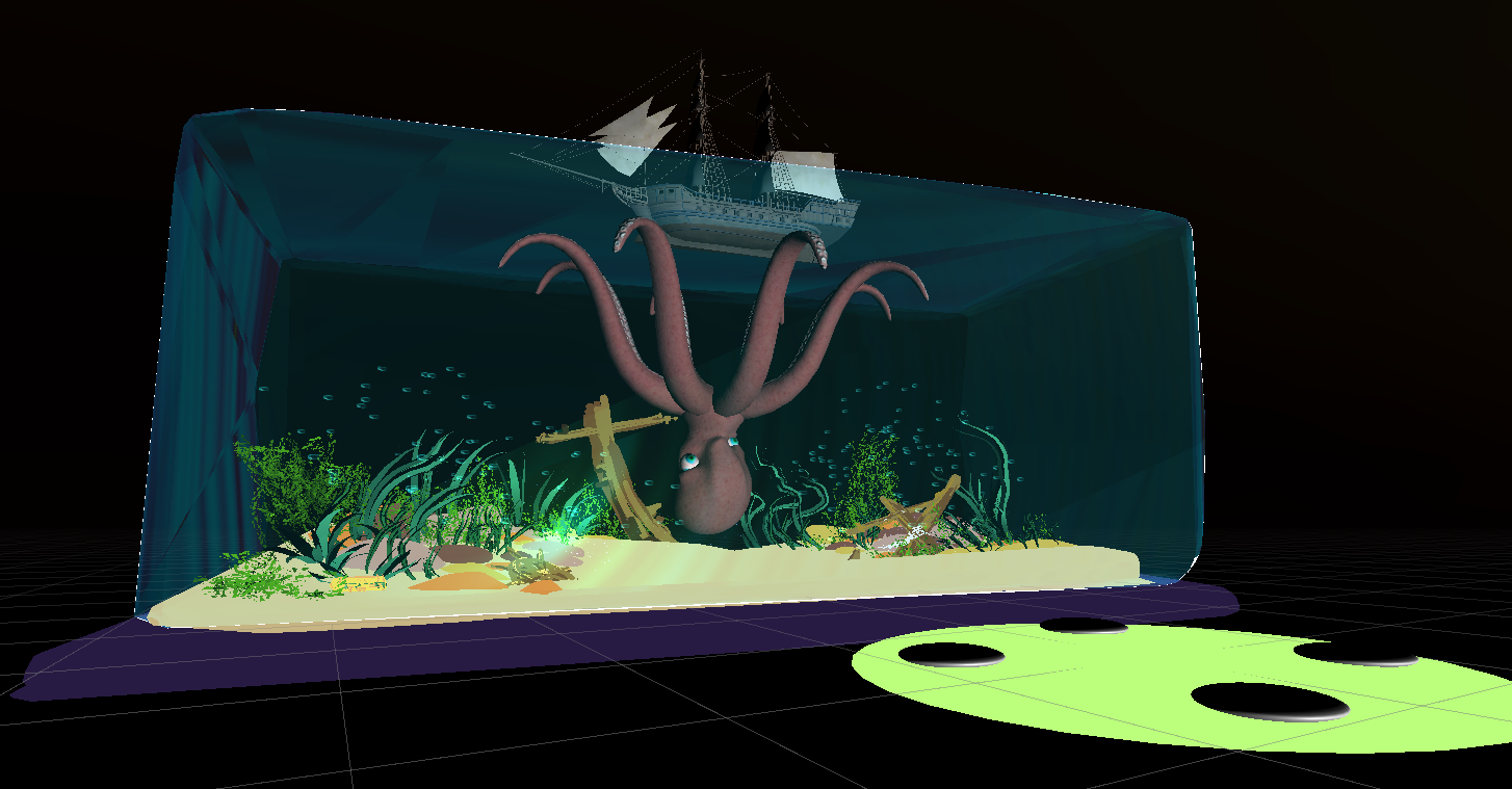 3D model of aquarium tank with octopus inside and a ship floating at the top