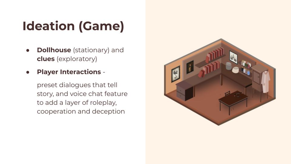 Ideation points on the left and isometric illustration of study room on the right
