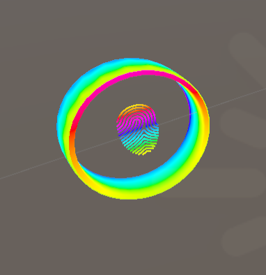 image of custom rainbow shader on a ring, with fingerprint in the middle