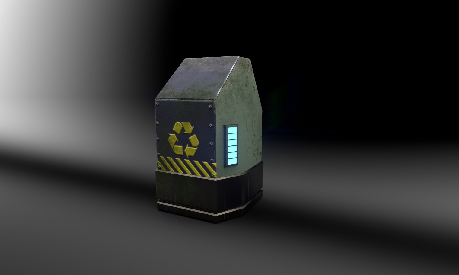 3d model of metal futuristic trash can