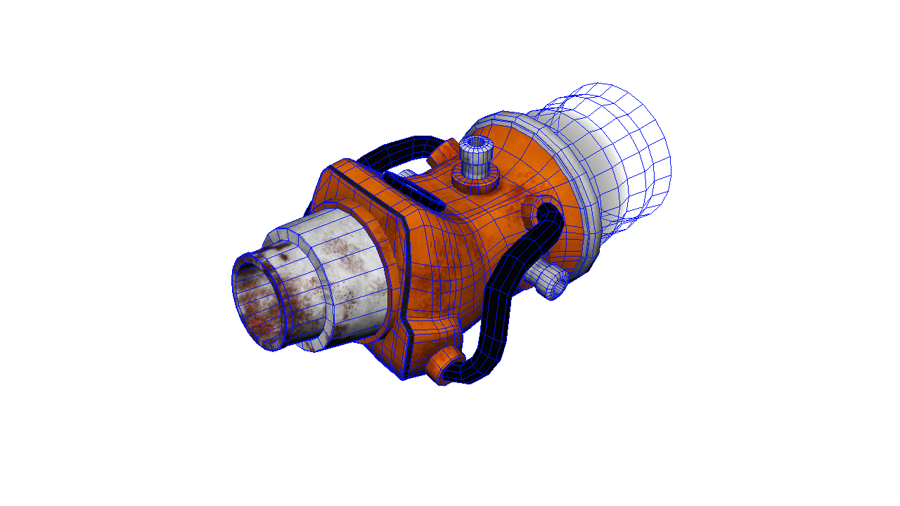 3d model of water jet with wireframe