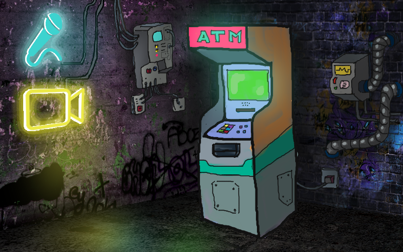 Stylized image of ATM in a street corner with neon lights. The ATM looks like an arcade machine