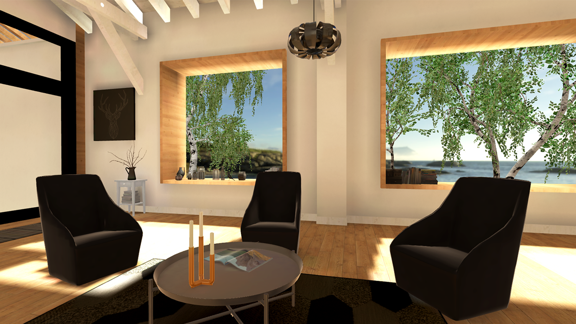 image of large open room 3D environment for group therapy in VR