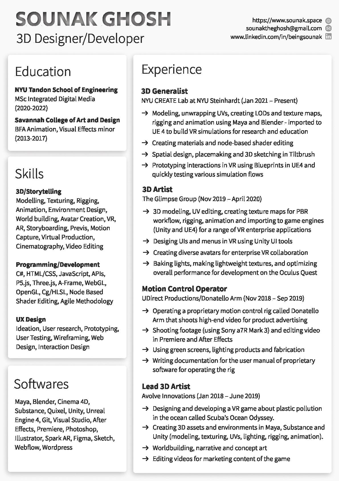 resume of sounak