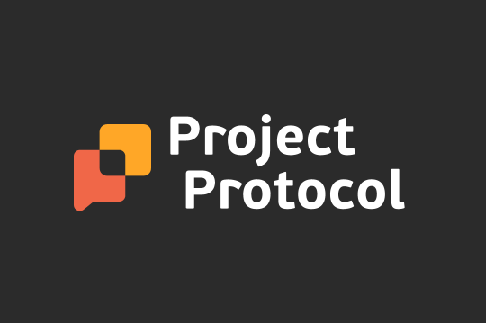 An orange and yellow logo that looks vaguely like both the letter P as well as a talk bubble. Next to it reads of the app in white text: Project Protocol. All of this sits on a black background