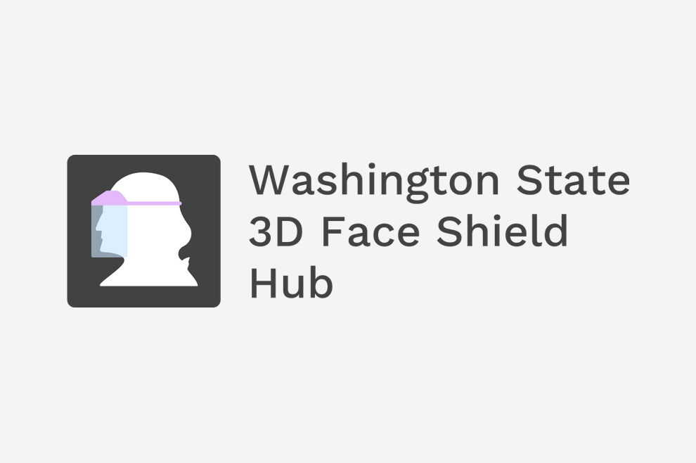 A logo that resembles a profile of George Washington with a face shield on. Next to the logo are the words Washing State 3D Face Shield Hub in black text.