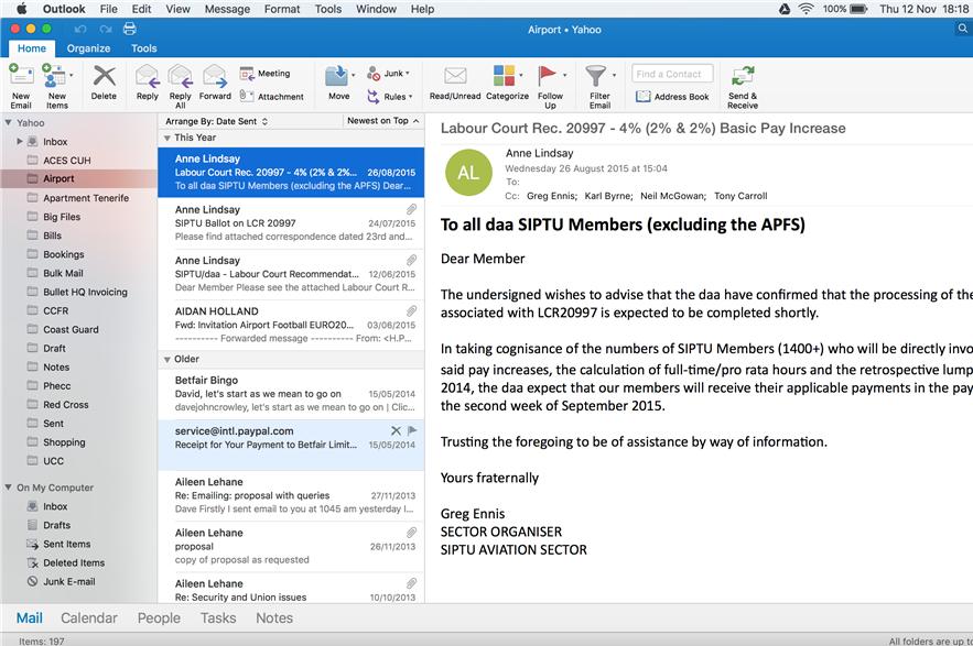 A screenshot of Outlook for Mac 2007