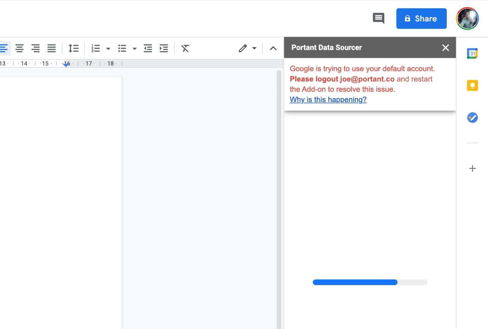 The error message shown by google when an Authorisation Error occurs.