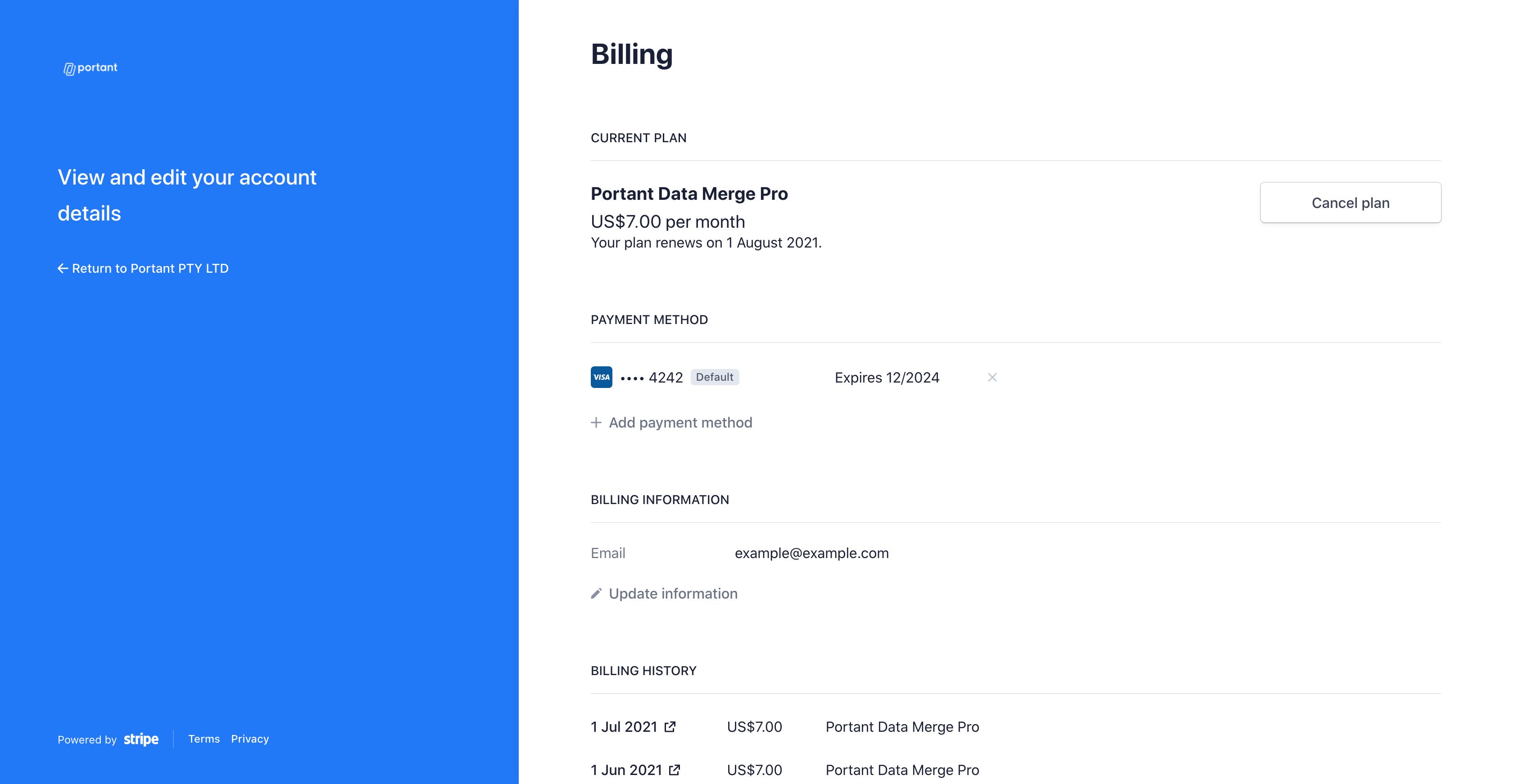 Portant Account Portal
