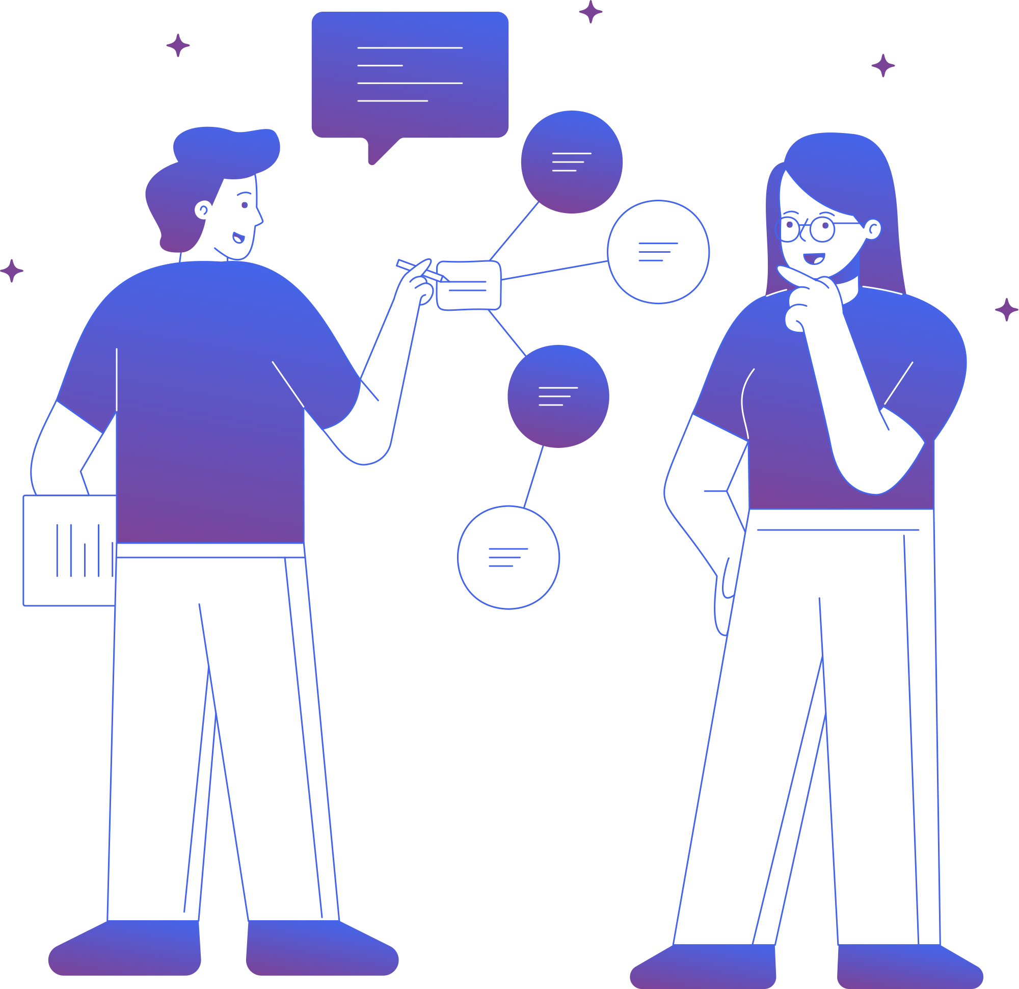 Drawing of two people discussing a code review on Antcode