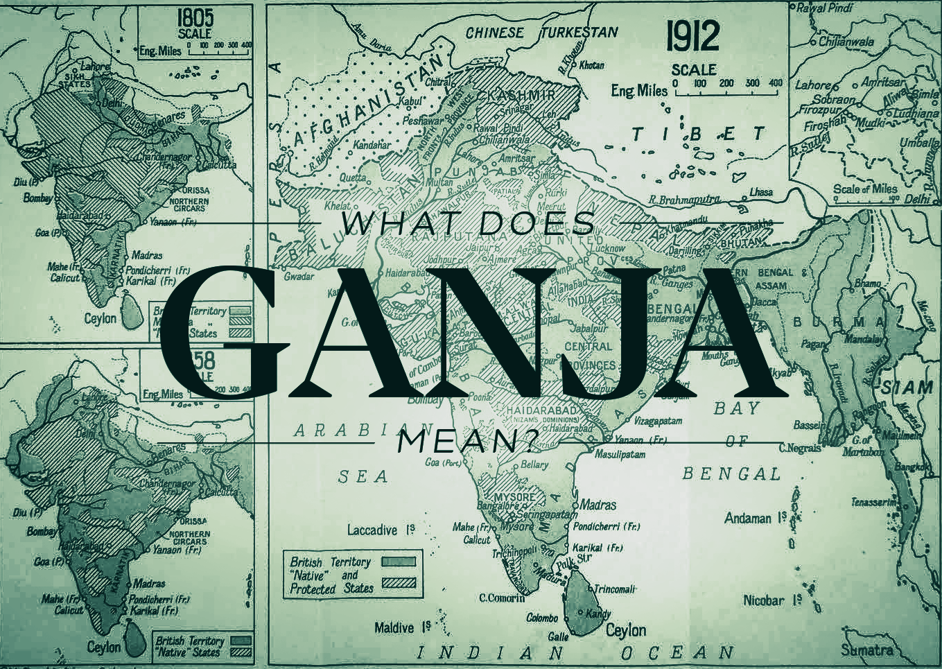 map of the British Indian empire_the origin or the word ganja