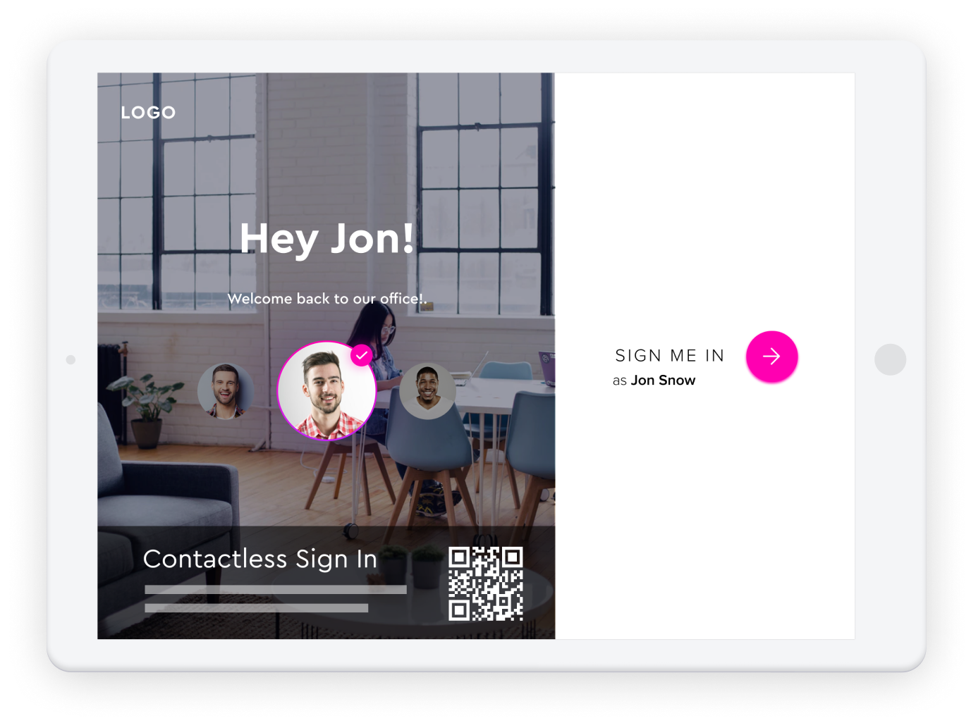 Image of an iPad showing 'Hey Jon! Welcome back to our office' and an option to sign in with a QR code.