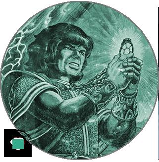 A man holding a magic crystal.