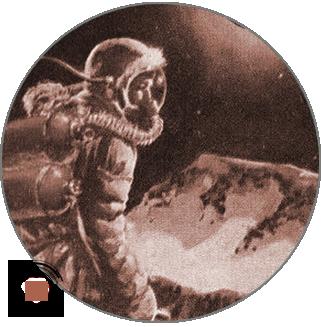 An astronaut walking across a mysterious planet.