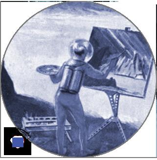 An astronaut painting on a moon.