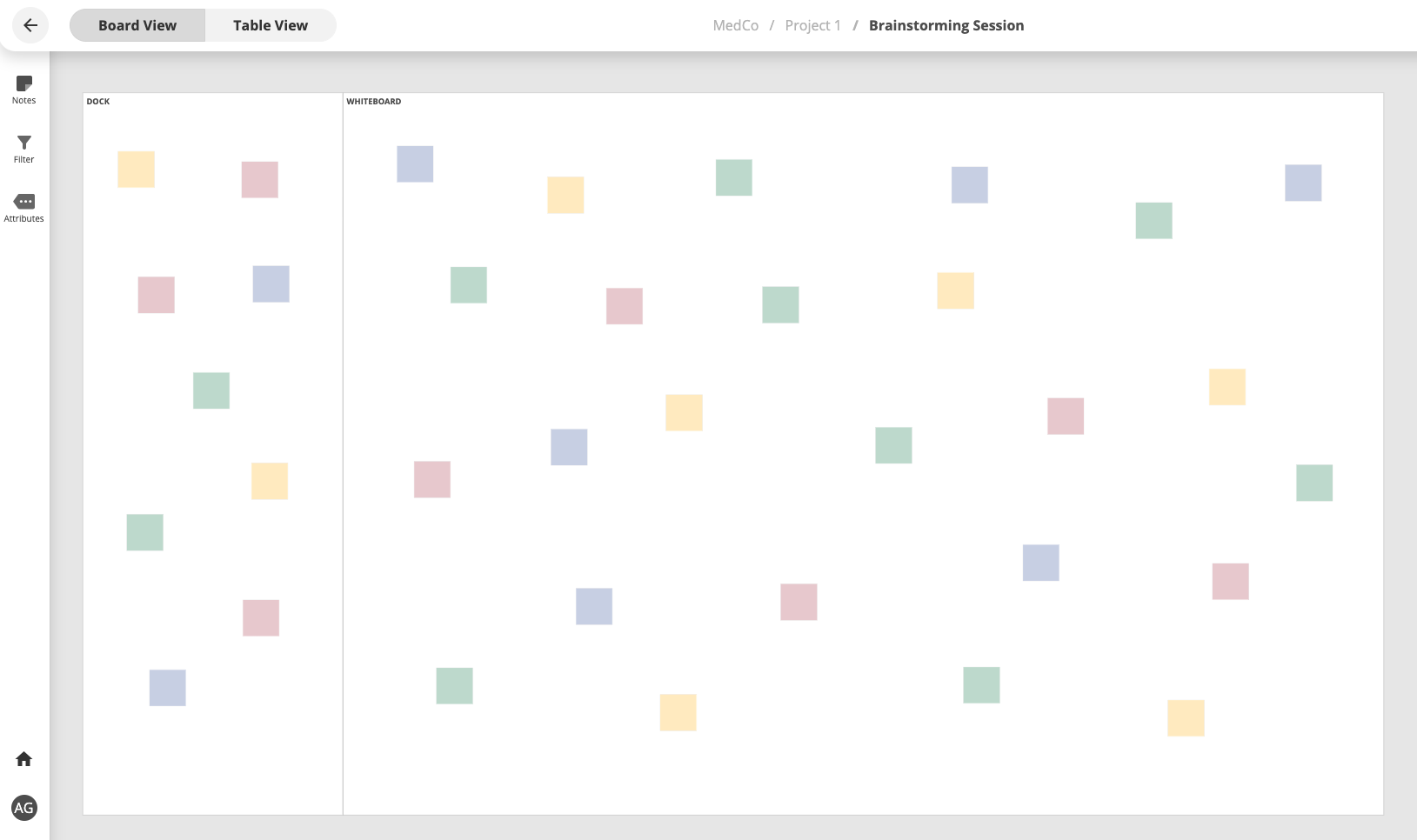 A virtual whiteboard filled with sticky notes