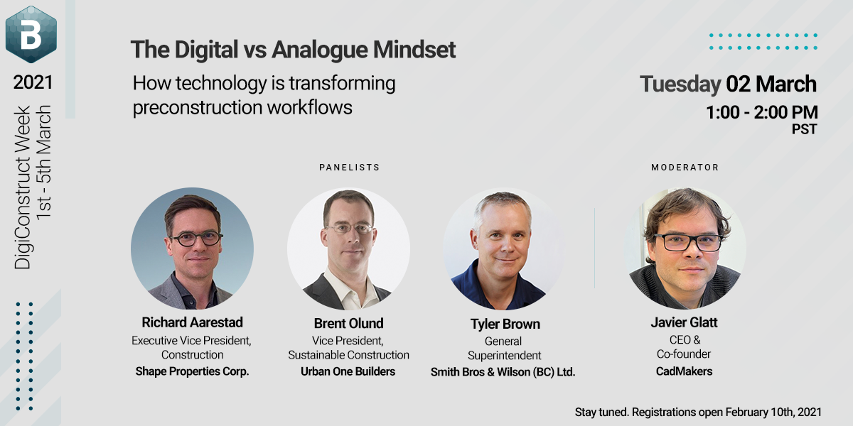 """Virtual panel discussion - """"The Digital vs Analogue Mindset: How technology is transforming preconstruction workflows"""""""