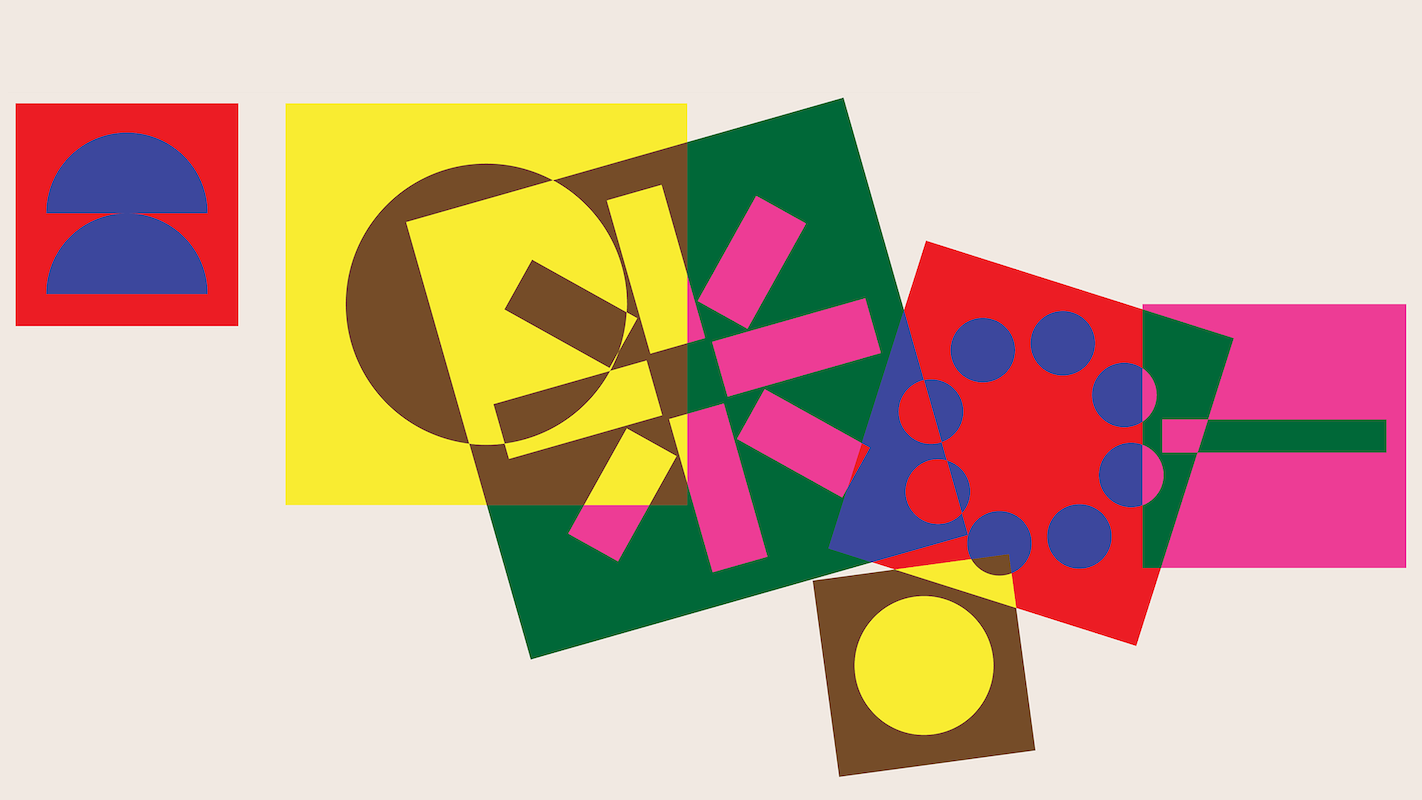 TransForum Banner artwork: colourful overlapping geometric shapes