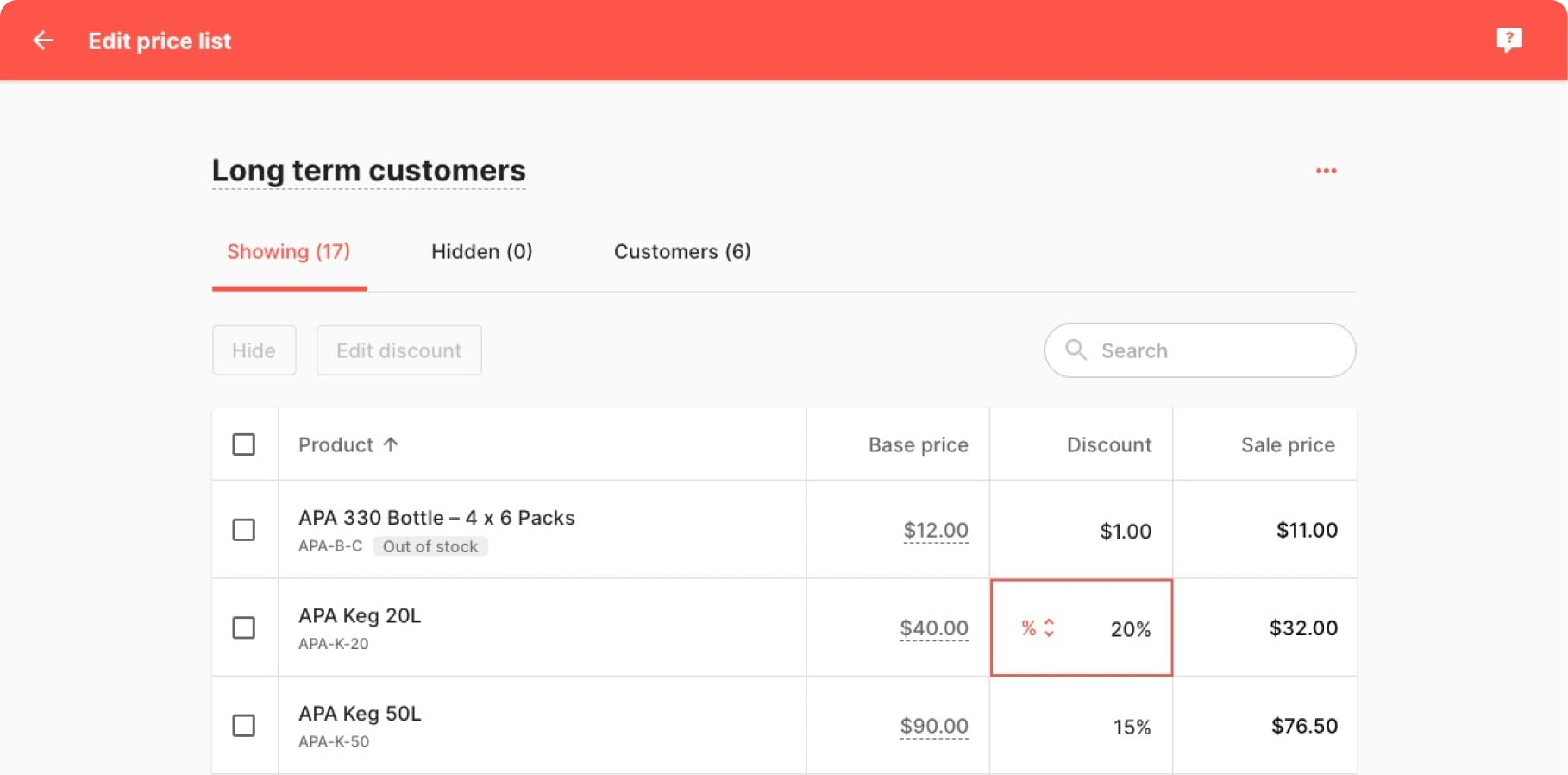 Editing the discount within a price list – you can edit by % or $ values, bulk edit prices, as well as hide or show products.