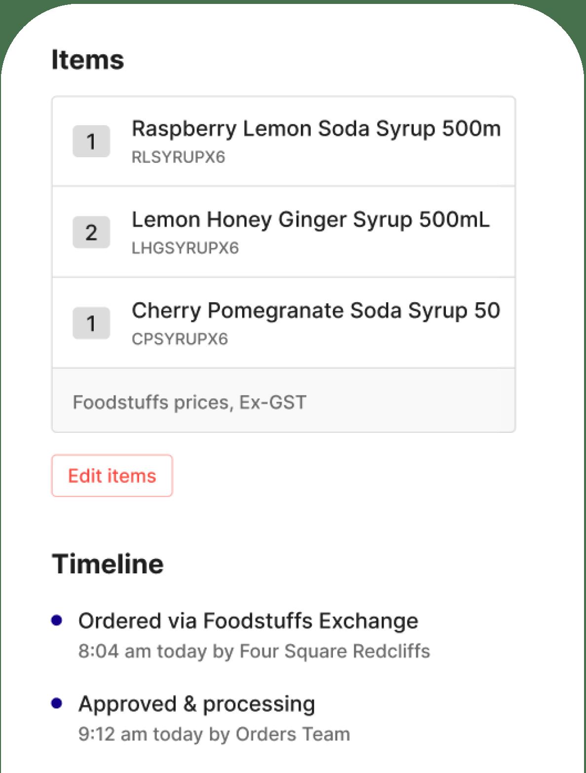 Upstock app showing Foodstuffs orders