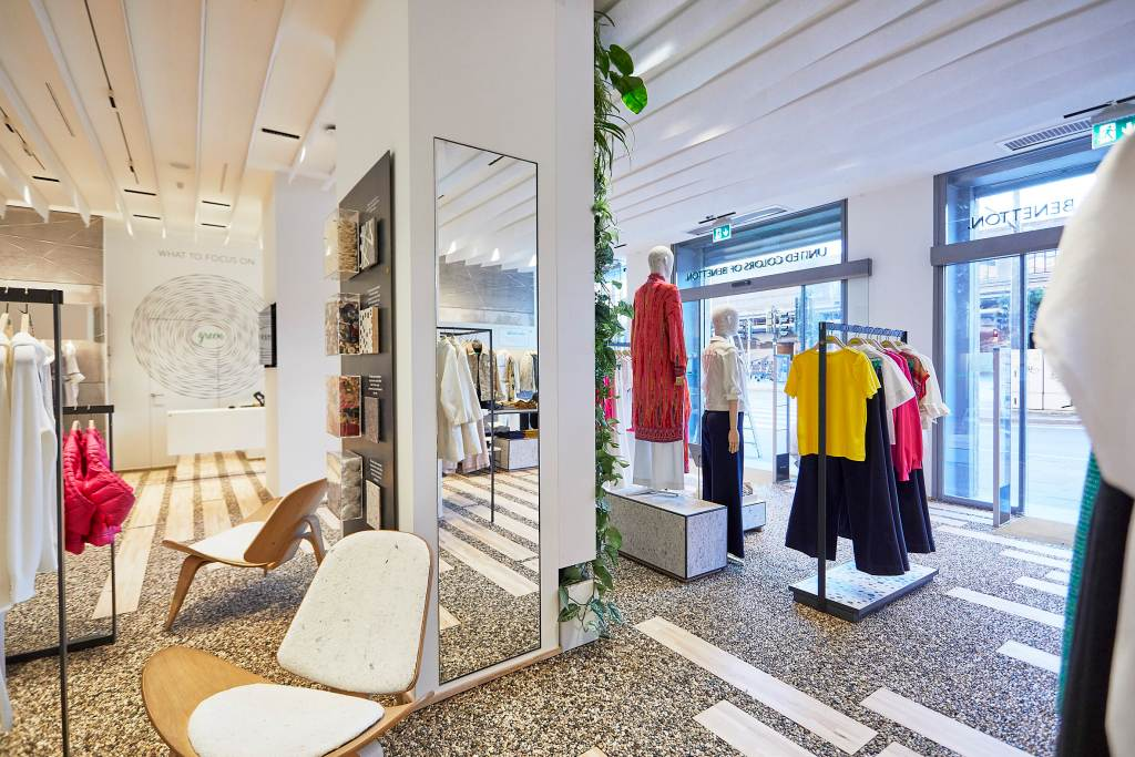 benetton sustainable store   The why, wow and how of sustainability in Visual Merchandising   Studio Rêver   Design Blog
